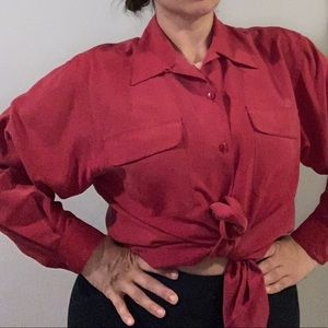 Beautiful red oversized silk button up